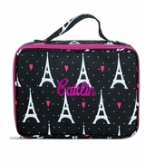 Embroidered Pattern Lunch Tote Bag - Eiffel Toiwer