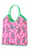 Embroidered Pineapple Beach Tote Bag