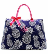Embroidered Pineapple Pattern Tote Bag
