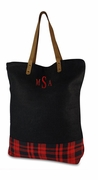 Embroidered Plaid Tote Bag | Monogram