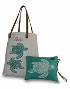 Embroidered Sea Turtle Beach Tote with Accessory Bag