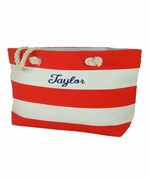 Embroidered Stripe Beach Tote