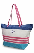 Embroidered Striped Beach Tote Bags