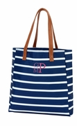 Embroidered Tote Bag - Stripe - Mint | Navy | Pink