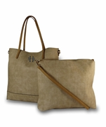 Faux Leather Large Monogram Tote - 2 piece set