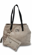 Faux Leather Tote Bag & Accessory Pouch | Monogram | 3 colors