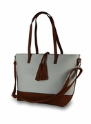 Faux Leather Tote- White