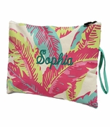 Floral Palm Pattern Cosmetic Bag | Monogrammed