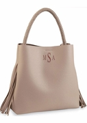 Fringed Vegan Leather Tote Bag | Monogram