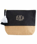 Girls Jute Cosmetic Case | Black  | Monogram