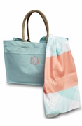 Jute Beach Bag with Flamingo Towel | Monogram