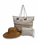 Jute Stripe Beach Bag with Hat - 2 Colors
