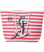 Large Beach Tote Nautical Stripe