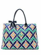 Large Quilted Tote Bag - Ikat | Monogram