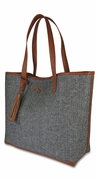 Monogram Black Tweed Herringbone Tote Bag
