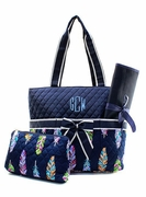 Monogram Feather Pattern Diaper Bag | Embroidered