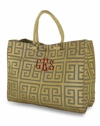 Monogram Greek Key Tote Bag