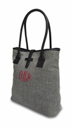 Monogram Herringbone Shoulder Tote Bag - 2 Colors