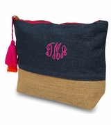 Monogram Jute Make Up Bag