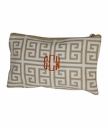 Monogram Jute Make Up Bag - Greek Key