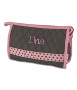 Monogram Make-Up Bag - Quilted Polka Dot Trim