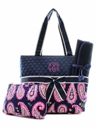 Monogram Paisley Diaper Bag | Embroidered
