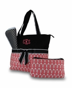 Monogram Quilted Diaper Bag | Arrow Pattern Personalized