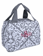 Monogram Reusable Lunch Bag | Damask Pattern