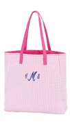 Monogram Seersucker Tote Bag | Personalized