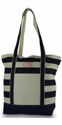 Monogram Stripe Beach Tote Bags