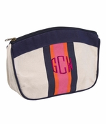 Monogram Stripe Cosmetic Bag