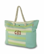 Monogram Stripe Jute Beach Tote