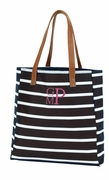 Monogram Striped Tote Bag | Black White
