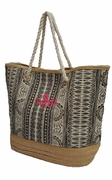 Monogram Summer Straw Tote Bag