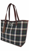 Monogram Tartan Plaid Tote Bag