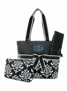 Monogrammed Damask Diaper Bag