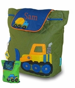 Monogrammed Kids Backpack | Truck or Bulldozer