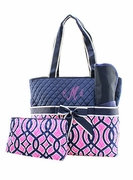 Monogrammed Quilted Diaper Bag | Vine Pattern