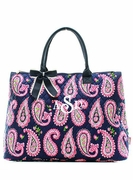 Monogrammed Quilted Paisley Tote Bag