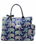 Monogrammed Quilted Tote Bag - Elephant