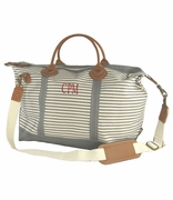 Monogrammed Stripe Canvas Duffel Bag