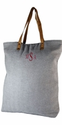 Monogrammed Travel Tote - Gray Herringbone