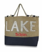 Personalized Color Block Jute Tote - The Lake
