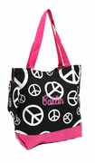 Personalized Peace Sign Tote | Embroidered