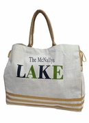 Personalized Striped Jute Tote - The Lake