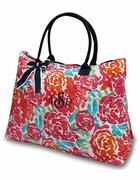 Quilted Floral Cotton Tote