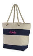 Small Cute Beach Tote Bag | Stripe | Monogram
