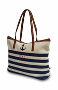 Striped Nautical Beach Tote | Personalized | Embroidered