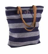Striped Shoulder Tote | Monogrammed