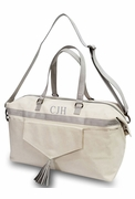 Stylish Canvas Weekender Duffle | Monogram | Gray or Blush